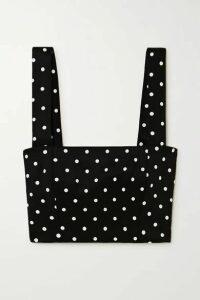 Balmain - Cropped Polka-dot Stretch-knit Top - Black
