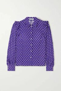 KENZO - Ruffled Printed Crepe Shirt - Purple