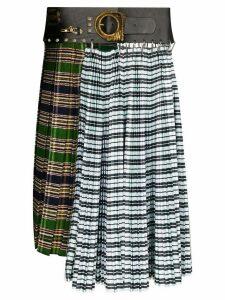 Chopova Lowena check pleated skirt - Green