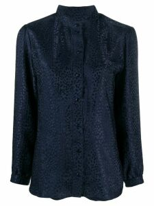 A.P.C. silk leopard print long-sleeve blouse - Blue