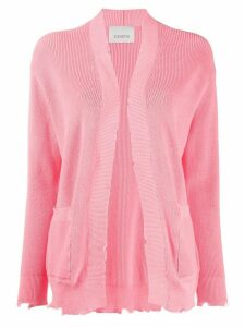 Laneus distressed open-front cardigan - PINK