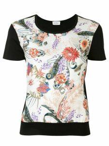 Salvatore Ferragamo floral feather print T-shirt - Black