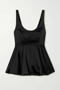 Paris Georgia - Sateen Peplum Top - Black