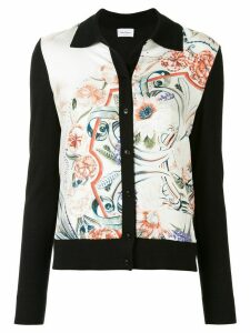 Salvatore Ferragamo floral feather print cardigan - Black