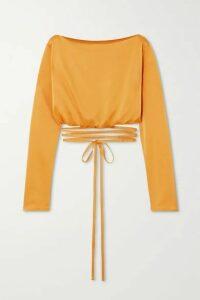 Paris Georgia - Charlotte Cropped Tie-detailed Satin Blouse - Mustard