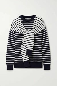 Michael Kors Collection - Tie-front Striped Cashmere Sweater - Midnight blue