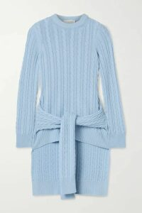 Michael Kors Collection - Tie-detailed Asymmetric Cable-knit Cashmere Sweater - Sky blue