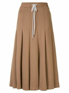 Markus Lupfer pleated midi skirt - Brown