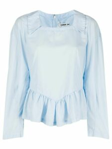 Comme Des Garçons square neck ruffled blouse - Blue