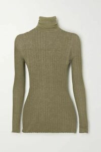 Paris Georgia - Ribbed Cotton Turtleneck Sweater - Army green