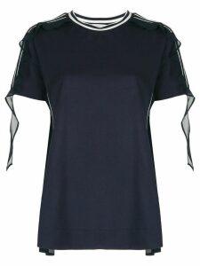 Moncler organza ruffle detailed T-shirt - Blue