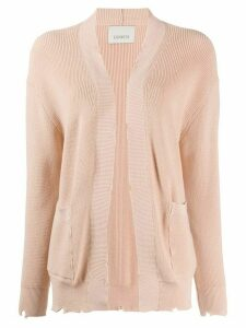 Laneus distressed open-front cardigan - NEUTRALS