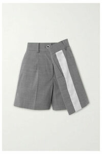 Sacai - Wrap-effect Striped Twill Shorts - Gray