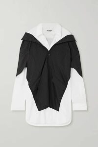 Junya Watanabe - Layered Cotton-poplin And Pinstriped Cady Shirt - Navy