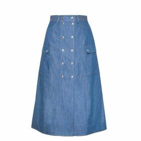 DIANA ARNO - Saskia A-Line Denim Skirt In Blue