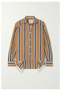 Sacai - Asymmetric Striped Poplin Shirt - Beige
