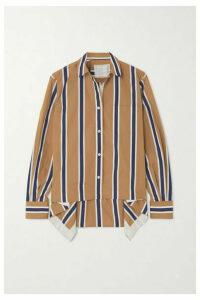 Sacai - Asymmetric Striped Poplin Shirt - Beige