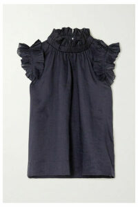 Sea - Lucy Ruffled Ramie Blouse - Navy