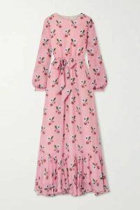 Borgo de Nor - Belted Floral-print Silk-georgette Maxi Dress - Pink