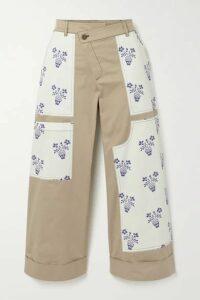Monse - Flower Pot Cropped Patchwork Cotton-blend Twill Wide-leg Pants - Beige