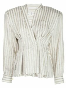 TRE by Natalie Ratabesi darted striped shirt - NEUTRALS