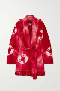 Alanui - Baja Belted Fringed Tie-dyed Wool Cardigan - Pink