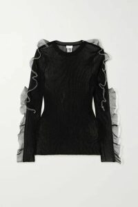 Noir Kei Ninomiya - Ruffled Ribbed-knit Top - Black
