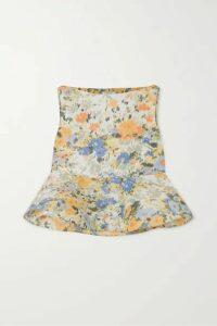 Nina Ricci - Floral-print Taffeta Peplum Blouse - Pastel yellow
