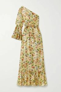Borgo de Nor - Regina One-sleeve Floral-print Fil Coupé Silk-blend Maxi Dress - Beige