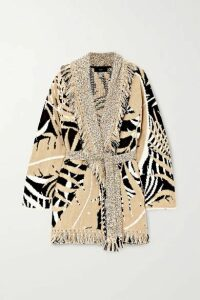 Alanui - Belted Fringed Cotton And Wool-blend Jacquard Cardigan - Cream