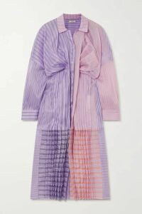 Nina Ricci - Oversized Gathered Striped Silk And Cotton-blend Organza Shirt Dress - Lilac