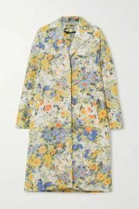 Nina Ricci - Oversized Floral-print Taffeta Coat - Yellow