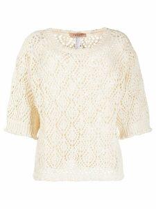 Twin-Set open knit jumper - NEUTRALS
