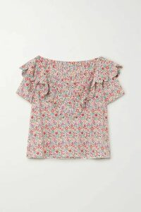 Horror Vacui - Flabella Scalloped Floral-print Cotton-poplin Blouse - Pink