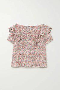 Horror Vacui - Flabella Scalloped Floral-print Cotton-poplin Blouse - Pink