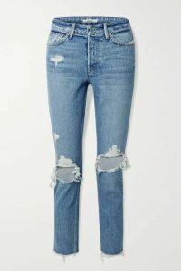 GRLFRND - Karolina Cropped Distressed High-rise Skinny Jeans - Blue