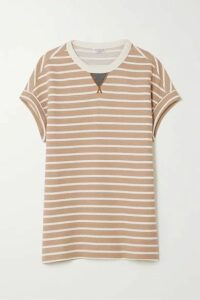 Brunello Cucinelli - Bead-embellished Striped Cotton-jersey T-shirt - Camel