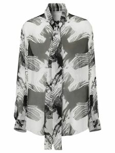 Burberry deer print pussy bow blouse - White