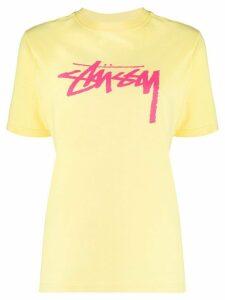 Stussy crew-neck logo T-shirt - Yellow