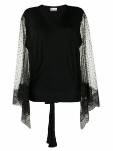 RedValentino point d'esprit draped sleeves blouse - Black