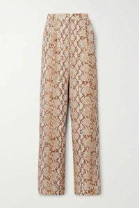 MICHAEL Michael Kors - Snake-print Crepe De Chine Wide-leg Pants - Beige