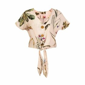 Tomcsanyi - Palma Tie Front Button Top 'Light Botanical'
