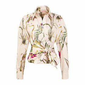 Tomcsanyi - Gellert Poplin Wrap Shirt 'Light Botanical'