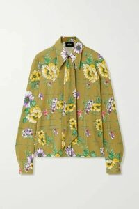 Runway Marc Jacobs - Pussy-bow Floral-print Silk Blouse - Army green