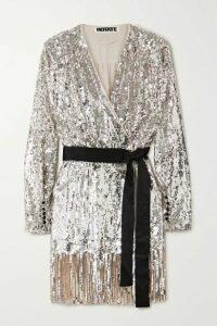 ROTATE Birger Christensen - Samantha Belted Fringed Sequined Tulle Wrap Dress - Silver