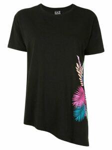 Ea7 Emporio Armani floral-print T-shirt - Black