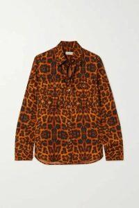 Dries Van Noten - Caffy Leopard-print Satin Blouse - Orange