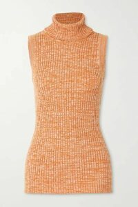 ANNA QUAN - Andi Ribbed Mélange Cotton Turtleneck Top - Orange