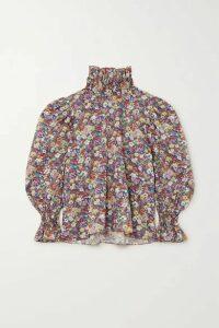 Horror Vacui - Collia Floral-print Cotton-poplin Blouse - Blue