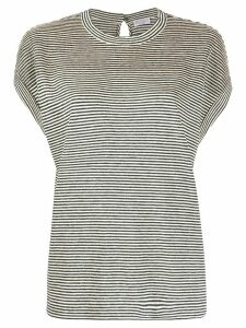 Brunello Cucinelli brass-embellished striped T-shirt - Grey